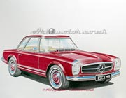 Painting of a Mercedes Benz SL Pagoda in burgundy