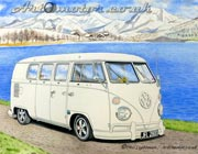 Painting of a VW camper van