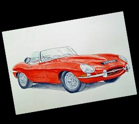 E-Type Jaguar painting
