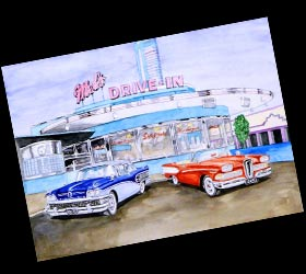 Watercolour painting. Drive-in cafe